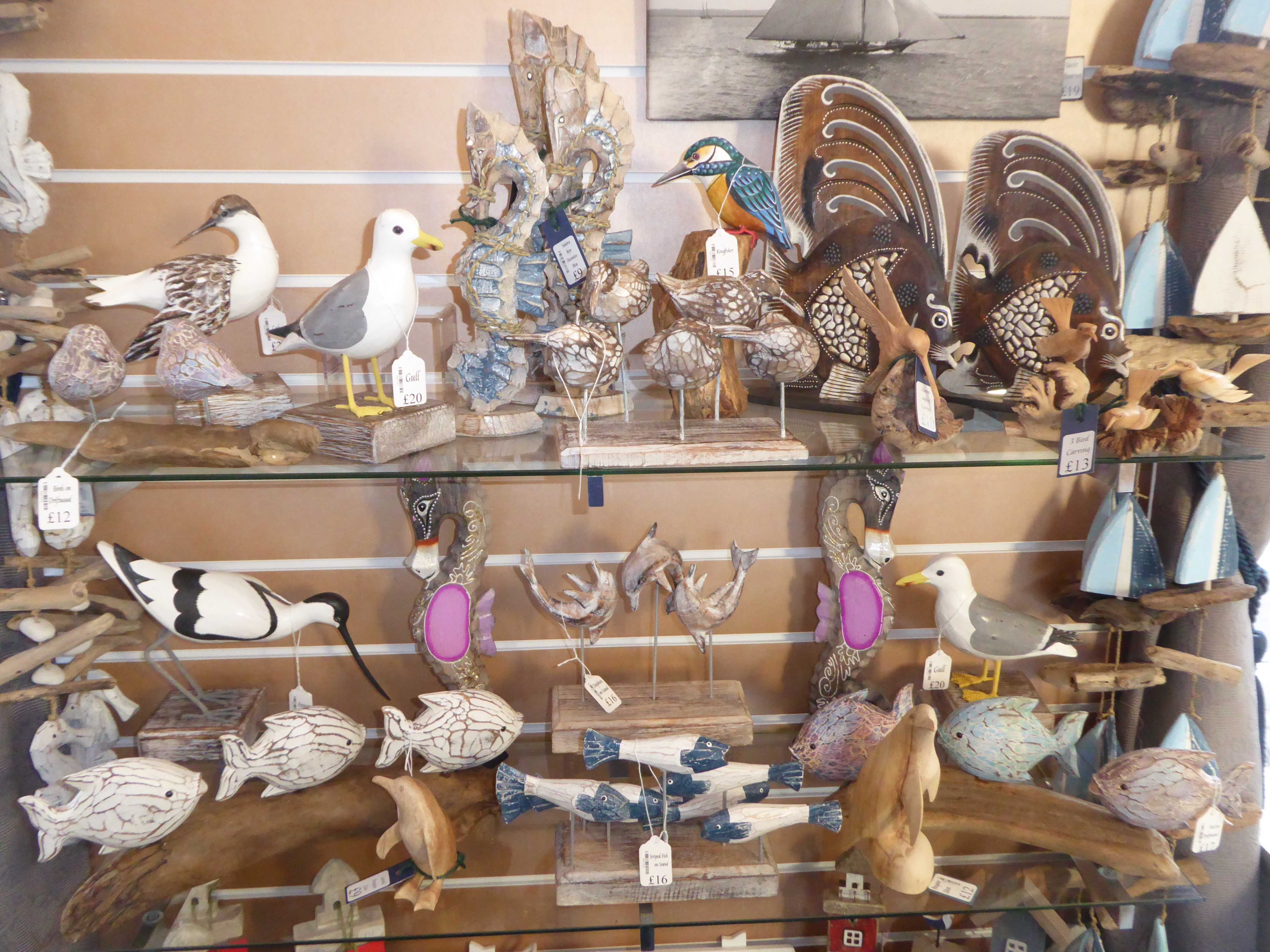 Birds and Fish Wooden Carvings
