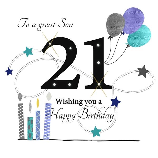 Groovy 21St Son Birthday Card Large Polkadot Stripes Funny Birthday Cards Online Alyptdamsfinfo