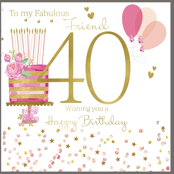 Admirable 40Th Birthday Card For A Fabulous Friend Polkadot Stripes Personalised Birthday Cards Paralily Jamesorg