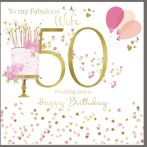Astonishing 50Th Birthday Card For A Fabulous Wife Polkadot Stripes Personalised Birthday Cards Paralily Jamesorg