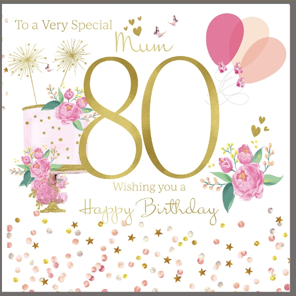 Remarkable 80Th Birthday Card For A Very Special Mum Polkadot Stripes Personalised Birthday Cards Bromeletsinfo