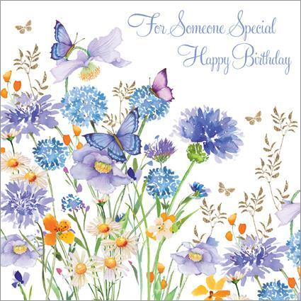 Magnificent Blue Alliums And Butterflies Birthday Card Polkadot Stripes Funny Birthday Cards Online Barepcheapnameinfo